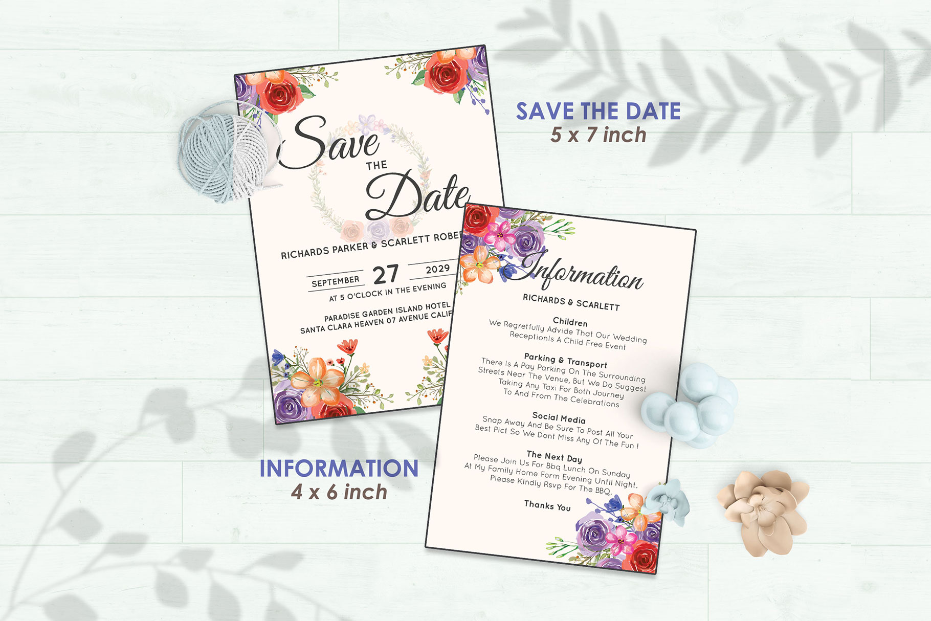 Wedding Invitation Set #10 Watercolor Floral Flower Style example image 3