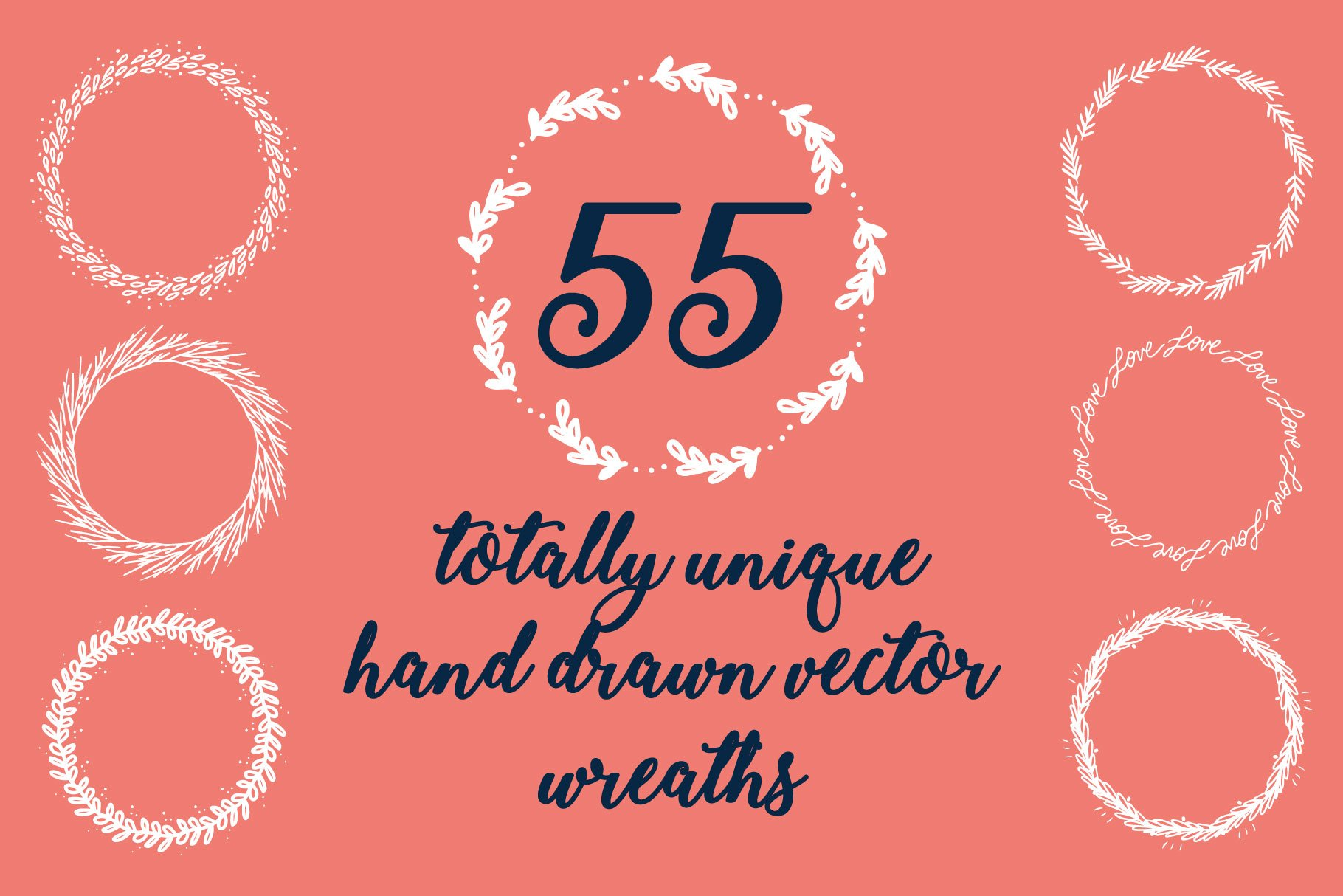 55 Unique Hand Drawn Wreaths! example image 3