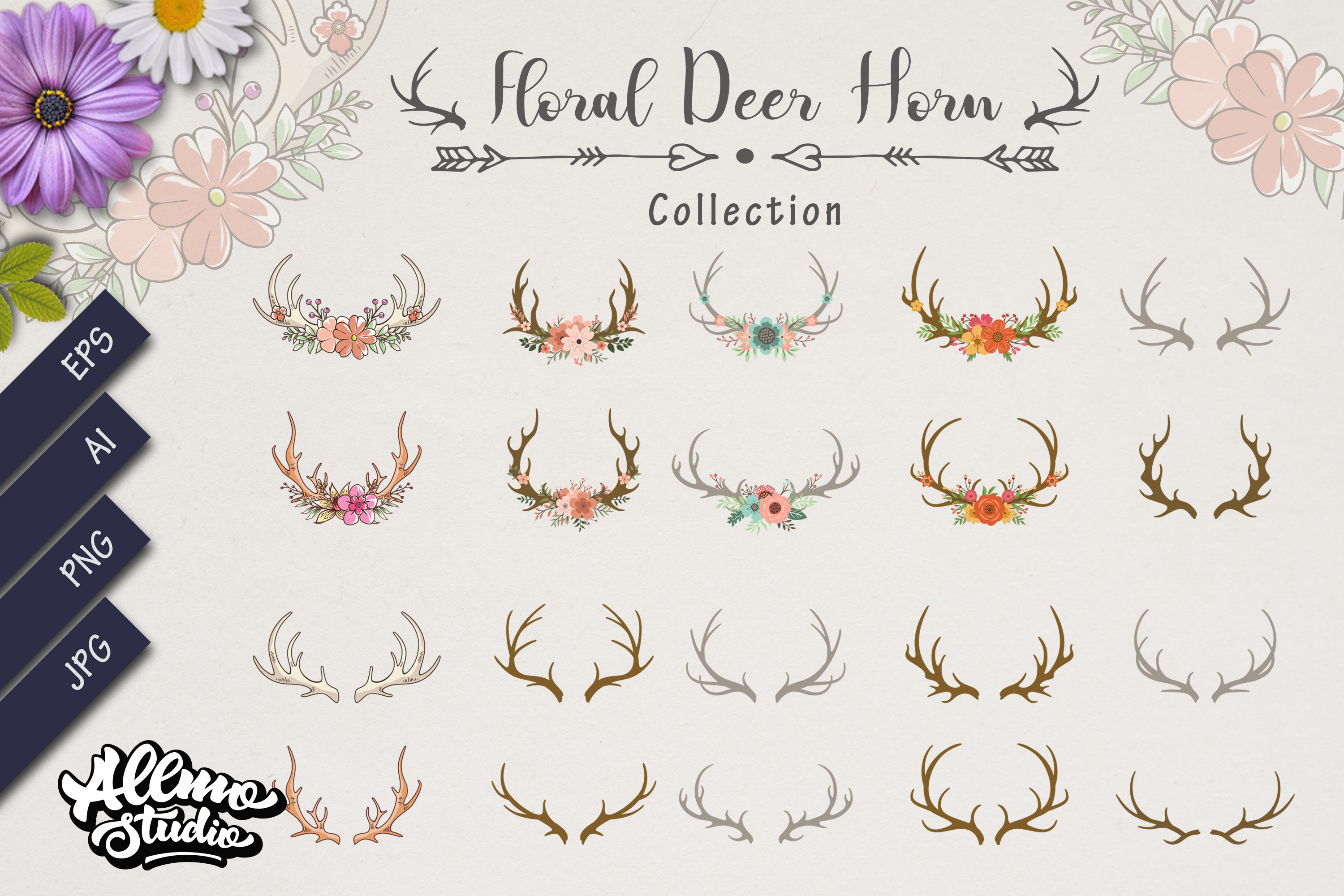 Bundle Set of Deer antlers floral example image 1