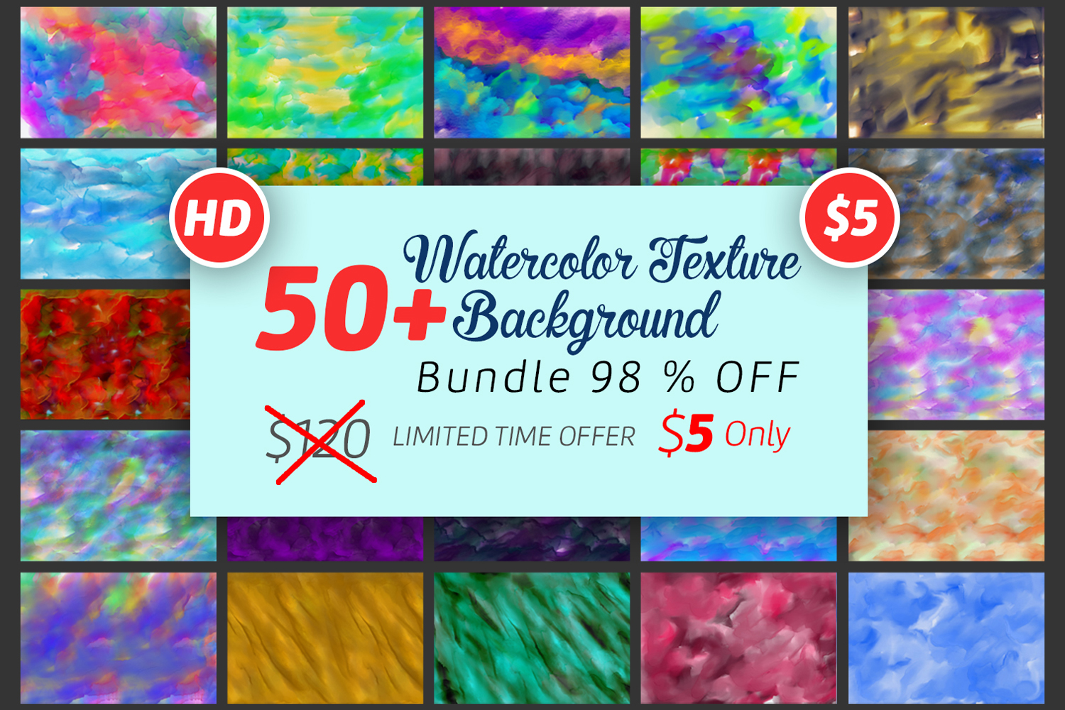 50 Watercolor Backgrounds Bundle example image 1