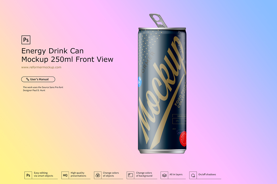 Energy Drink Can Mockup 250ml Front View example image 4