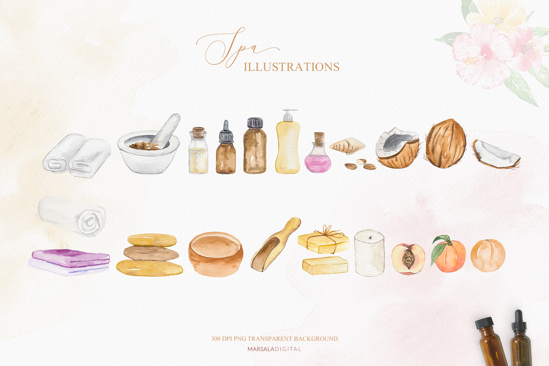 Watercolor Spa Illustrations Clipart Essential Oil, Tropical example image 4