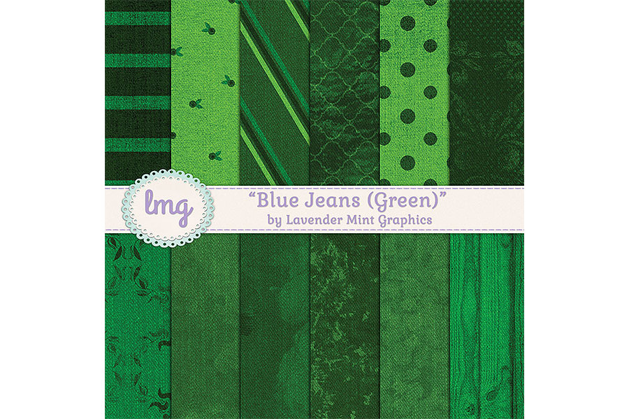 Green Blue Jean Digital Papers example image 1