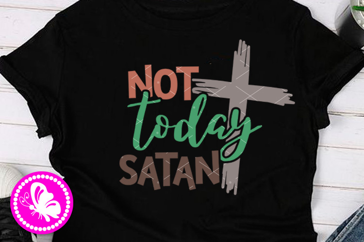Not today satan svg Cross print Easter wall art Religious example image 1