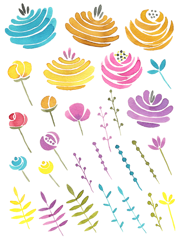 Watercolor colored fairy flowers png example image 2