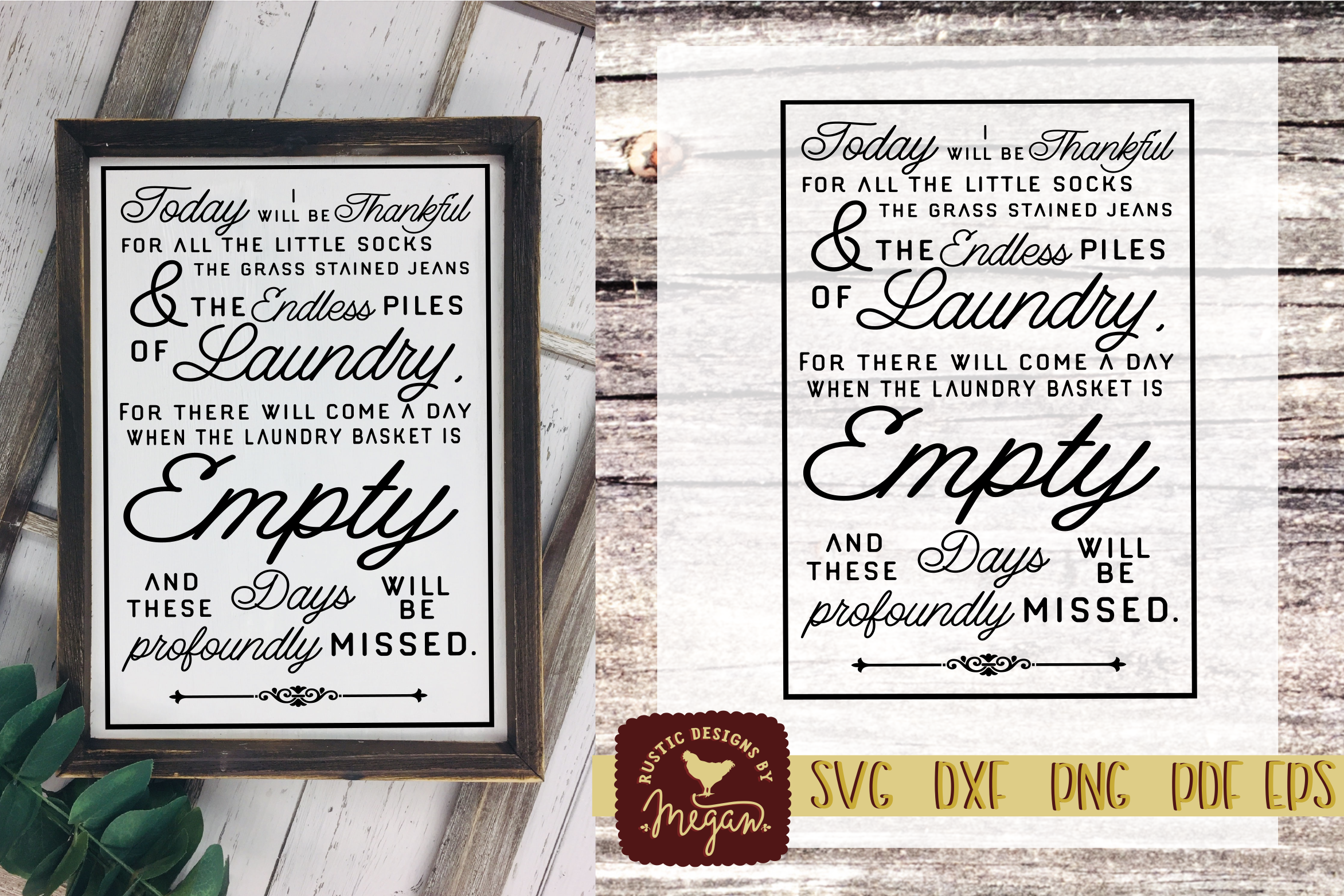 Rustic Laundry Thankful for Little Socks Farmhouse SVG DXF E example image 1