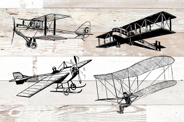 Vintage Airplanes Bundle PNG, EPS, SVG Vector example image 1