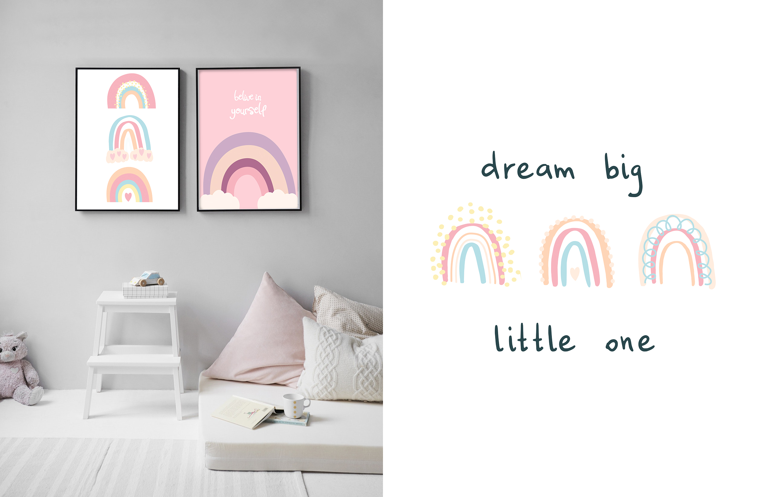 PASTEL RAINBOW. Abstract Graphic Set example image 5