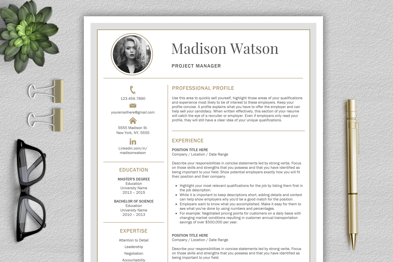 Professional Resume Template / CV Template / Resume for Word with Cover Letter example image 1