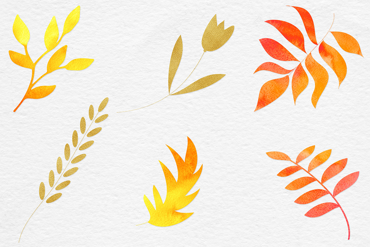 Watercolor & Gold Botanical Clipart example image 2