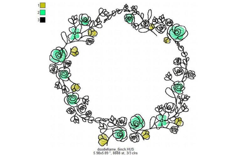 Doodle Floral Wreath monogram font border frame in 3 sizes example image 3