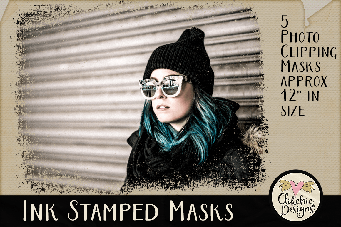 Ink Stamped Photoshop Clipping Masks & Tutorial example image 4