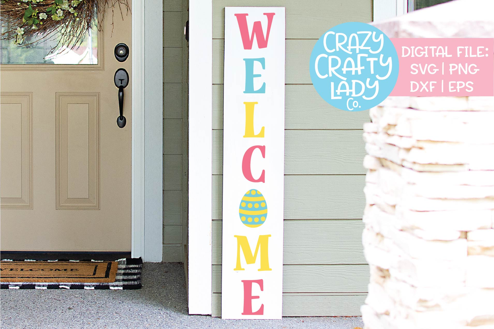 Welcome Easter Porch Sign SVG DXF EPS PNG Cut File example image 1