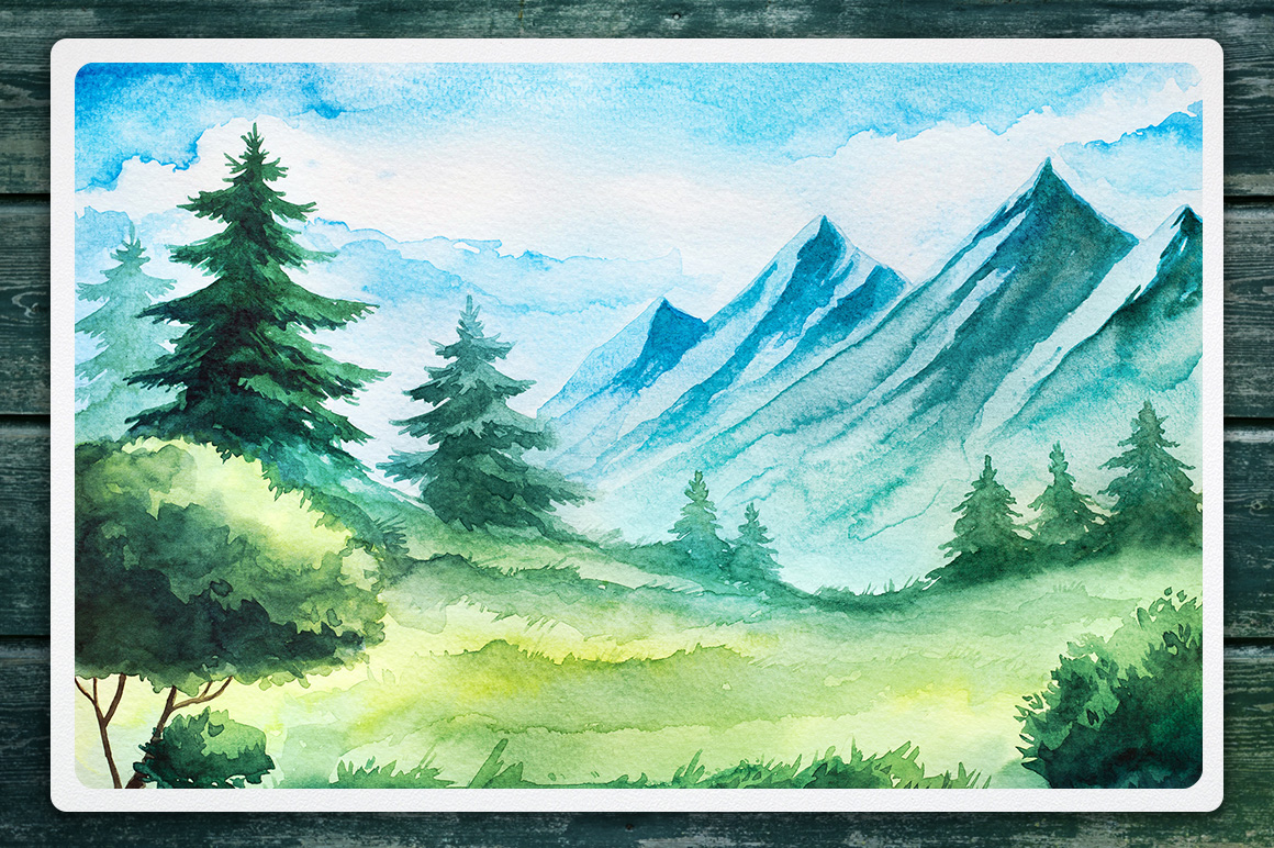 Watercolor Vector Landscapes set#2 example image 3