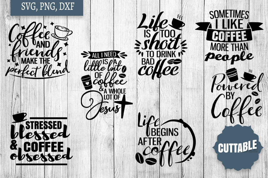 Coffee SVG Bundle, Coffee Cut Files, Coffee SVG quotes example image 2