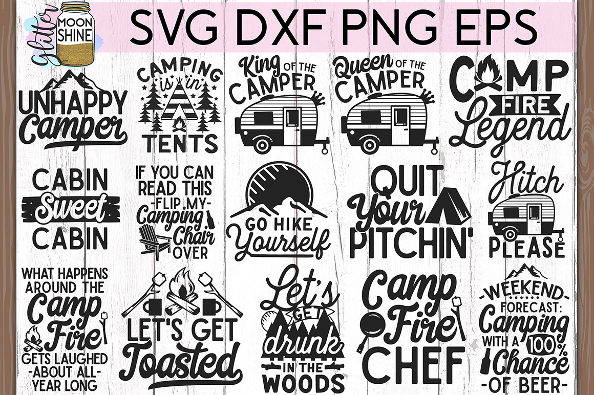 Camping Bundle of 20 #2 SVG DXF PNG EPS Cutting Files example image 2