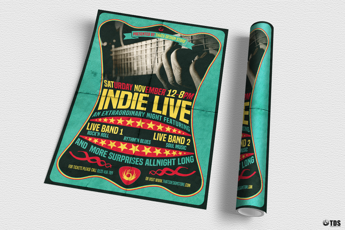 Indie Live Flyer Template example image 3