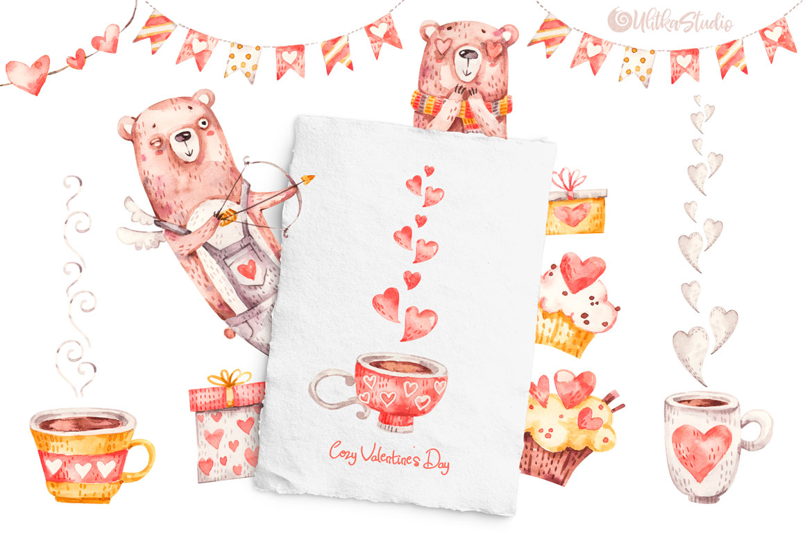 Cozy Valentines Day. Lovely bears watercolor collection example image 6
