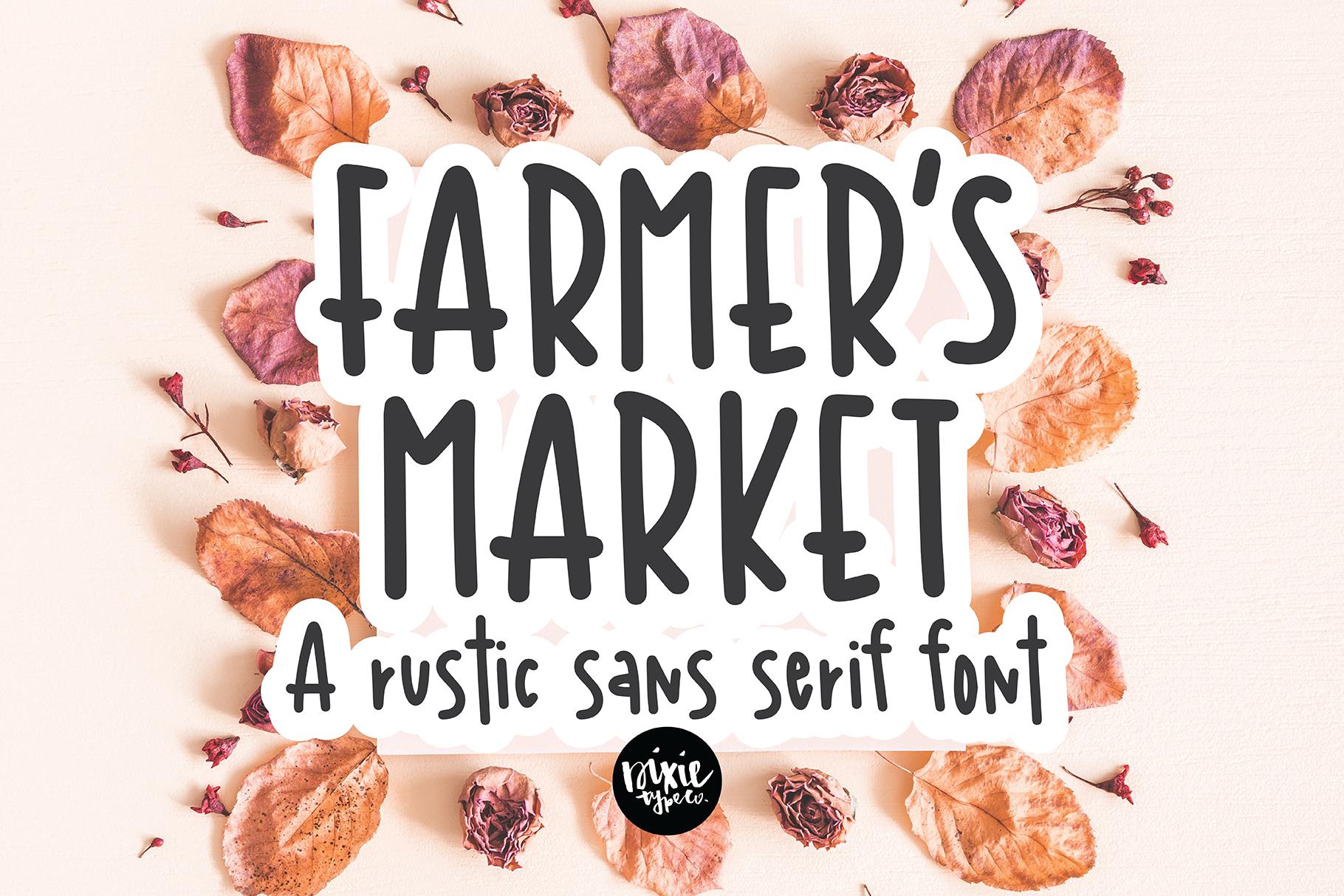 FARMER'S MARKET a Rustic Sans Serif Font example image 1