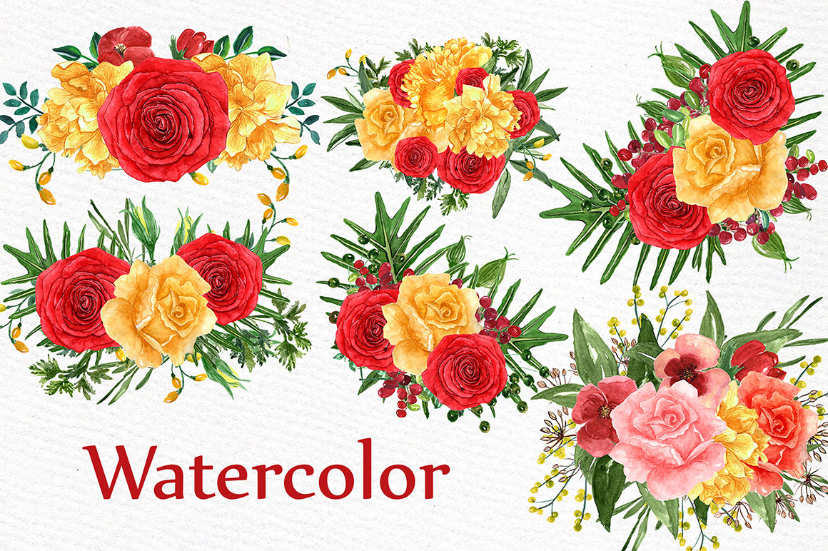 Watercolor roses bouquets example image 2