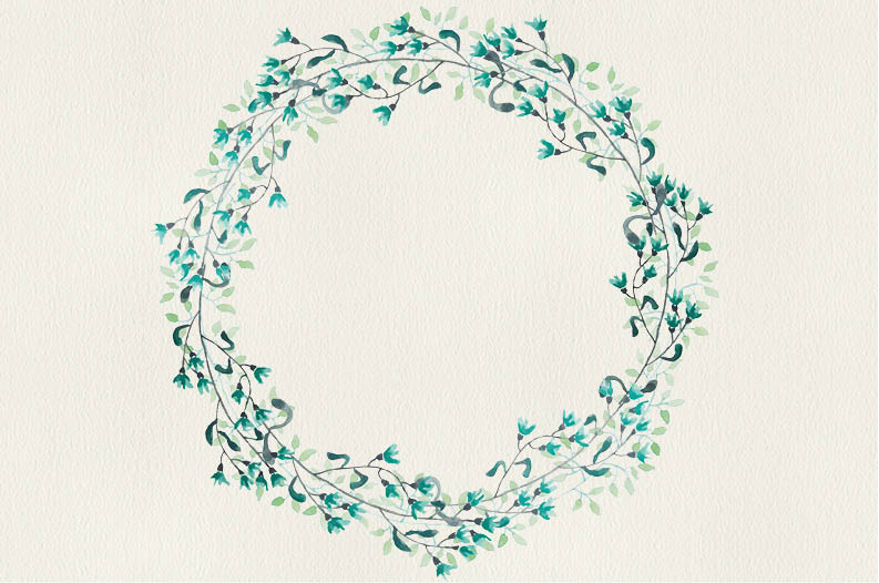 Watercolor wreath of sea green flowers example image 5
