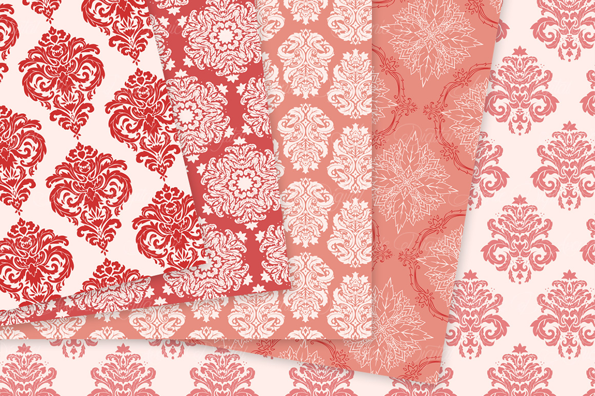 28 Red Damask Patterns - Seamless Digital Papers Bundle example image 9