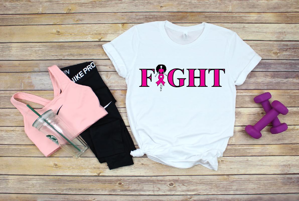 Go fight cure, Survivor svg, Pink Ribbon svg example image 1