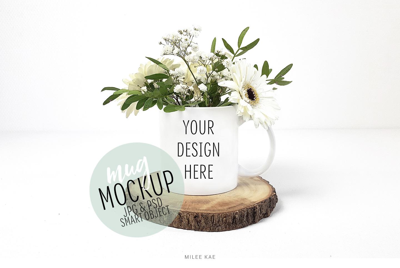 White coffee mug mockup, JPG & PSD example image 1