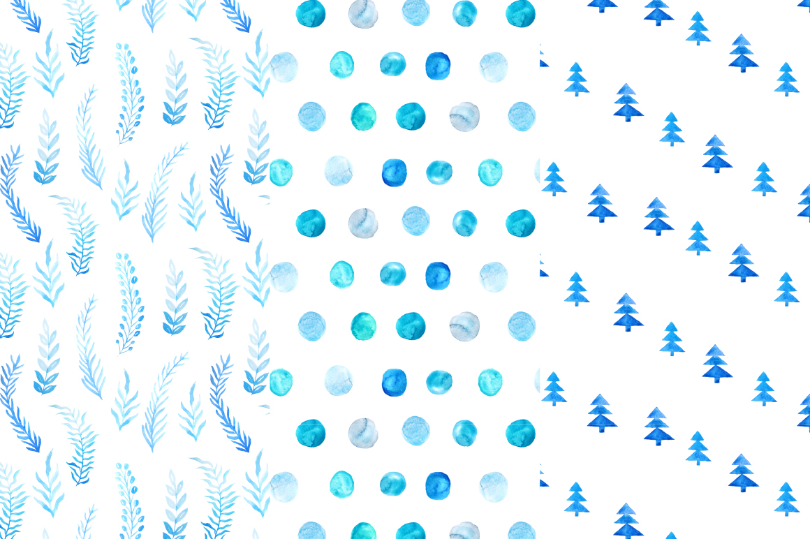 Watercolor Christmas Snow Patterns example image 4