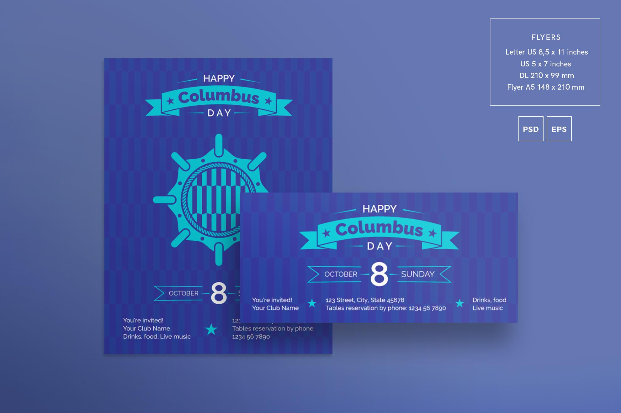 Columbus Day Party Design Templates Bundle example image 2