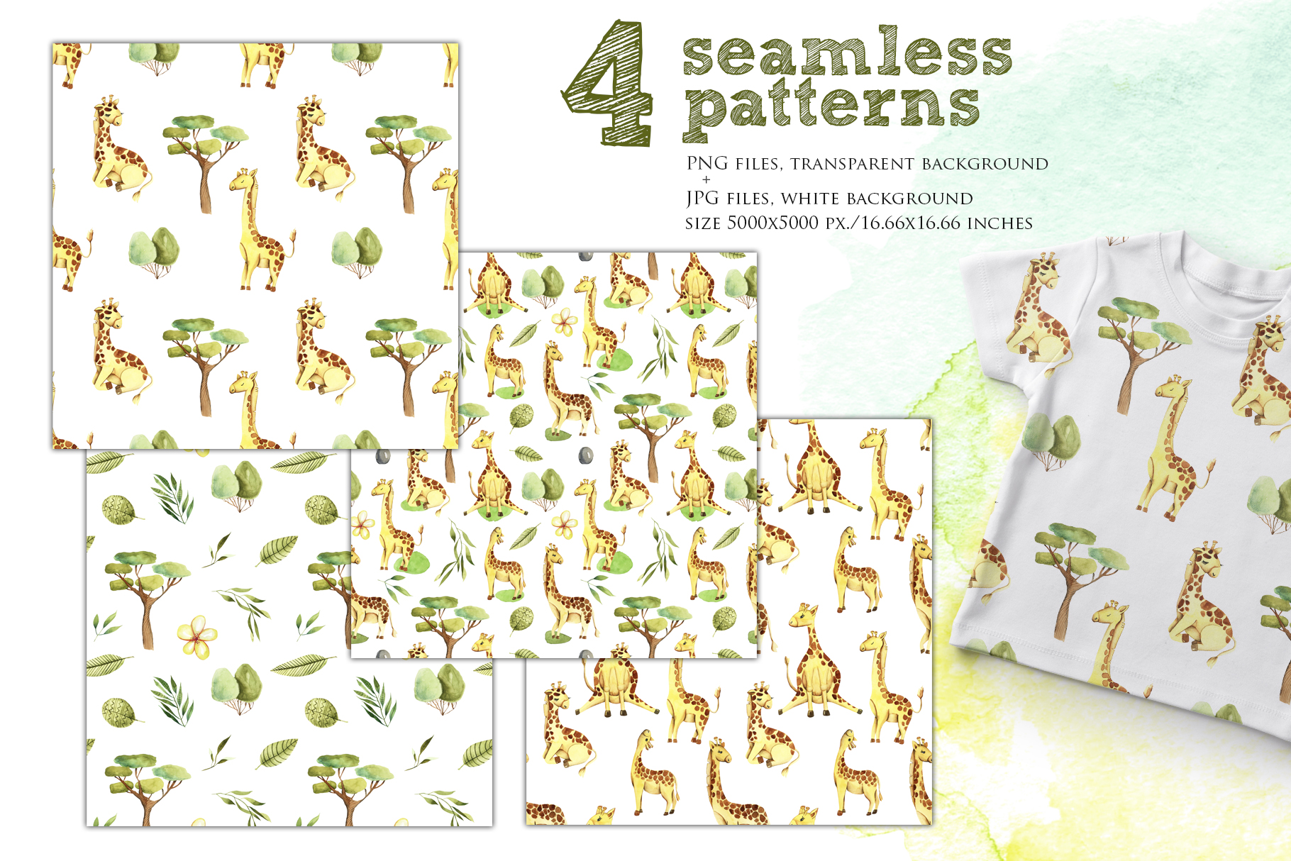 Giraffes. Watercolor clipart. example image 6