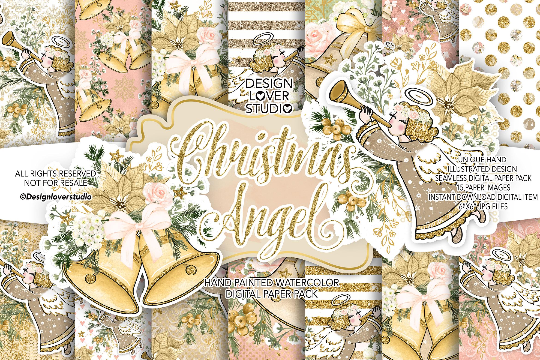 Christmas Angel digital paper pack example image 1