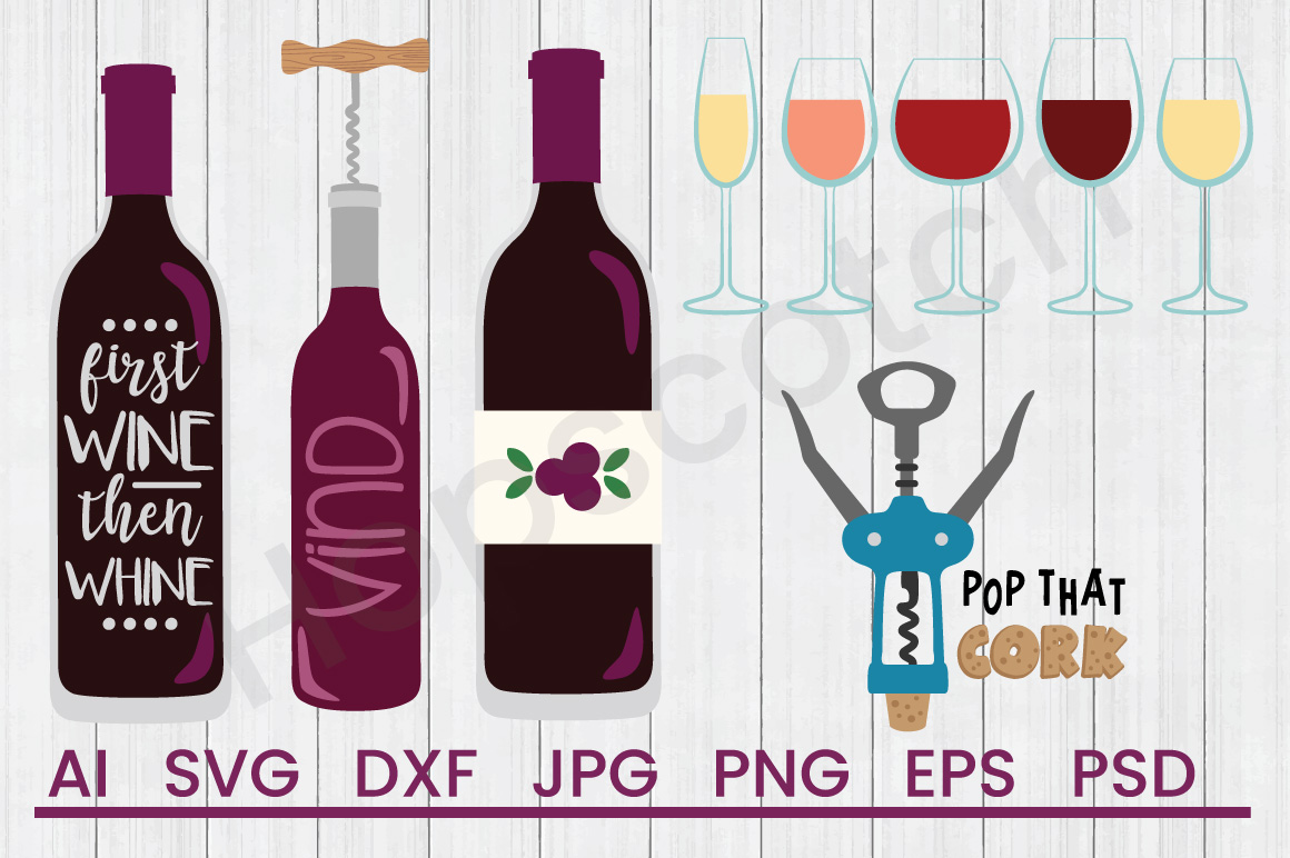 Wine SVG Bundle, DXF File, Cuttable File example image 1