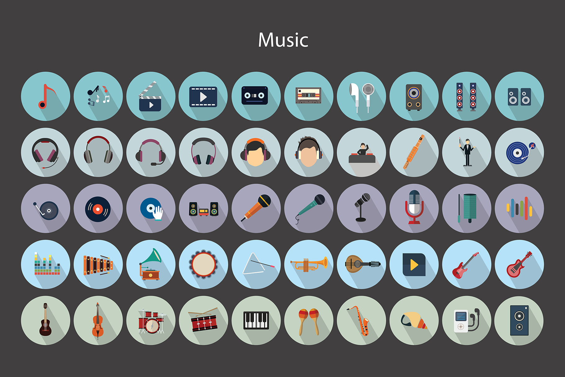 Flat Vector Icons Music Pack V2 example image 5