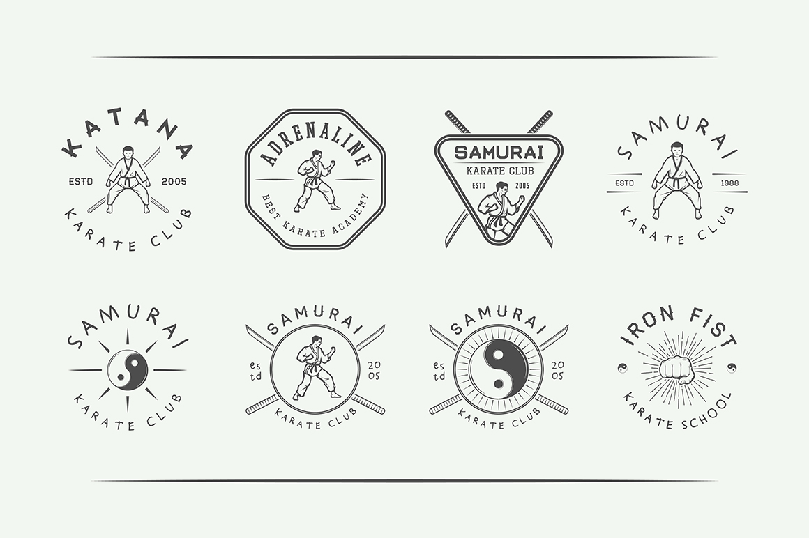 Vintage Karate Emblems Bundle example image 9