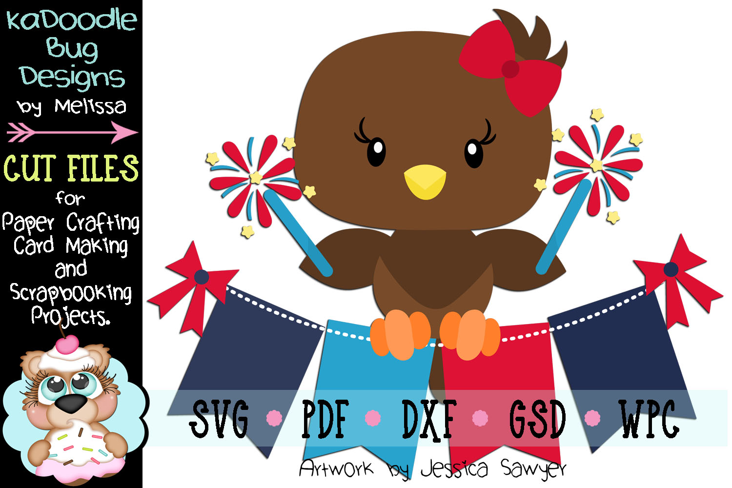 4th of July Sparkler Eagle Cut File - SVG PDF DXF GSD WPC example image 1