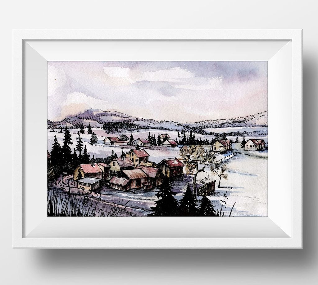 Countryside Watercolor Landscapes example image 10