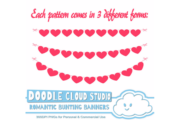 Romantic Bunting Banners Cliparts, Valentine's Day Pink, Fuchsia Bunting Flags, heart patterns, Instant Download, Personal & Commercial Use example image 2