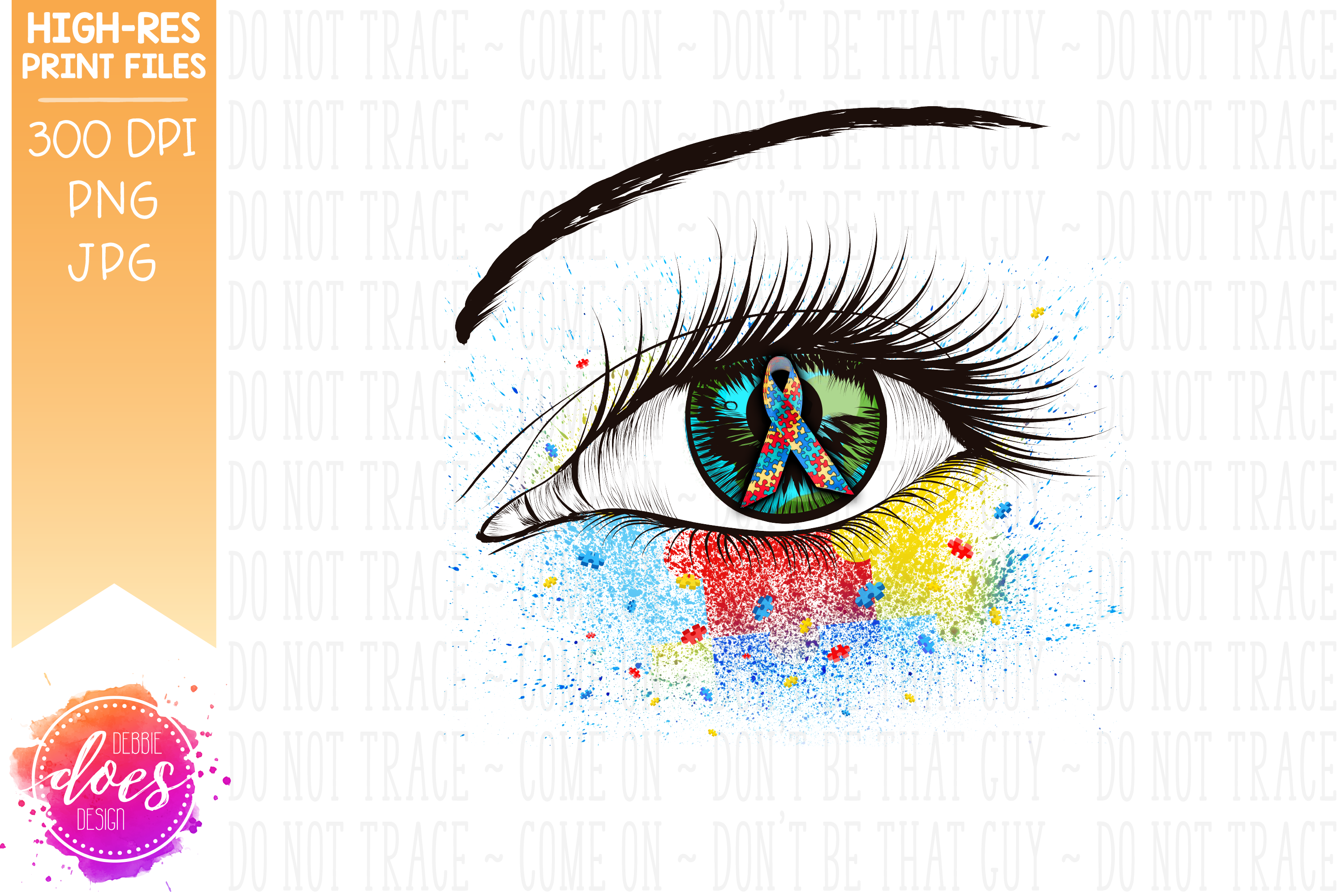 Autism Awareness Ribbon Eye - Printable Design example image 3