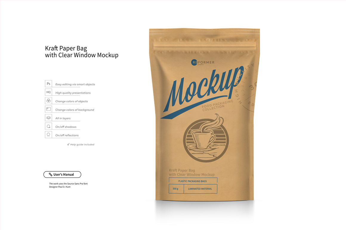 Kraft Paper Bag Stand up Pouch Doypack with Clear Window Mockup example image 5