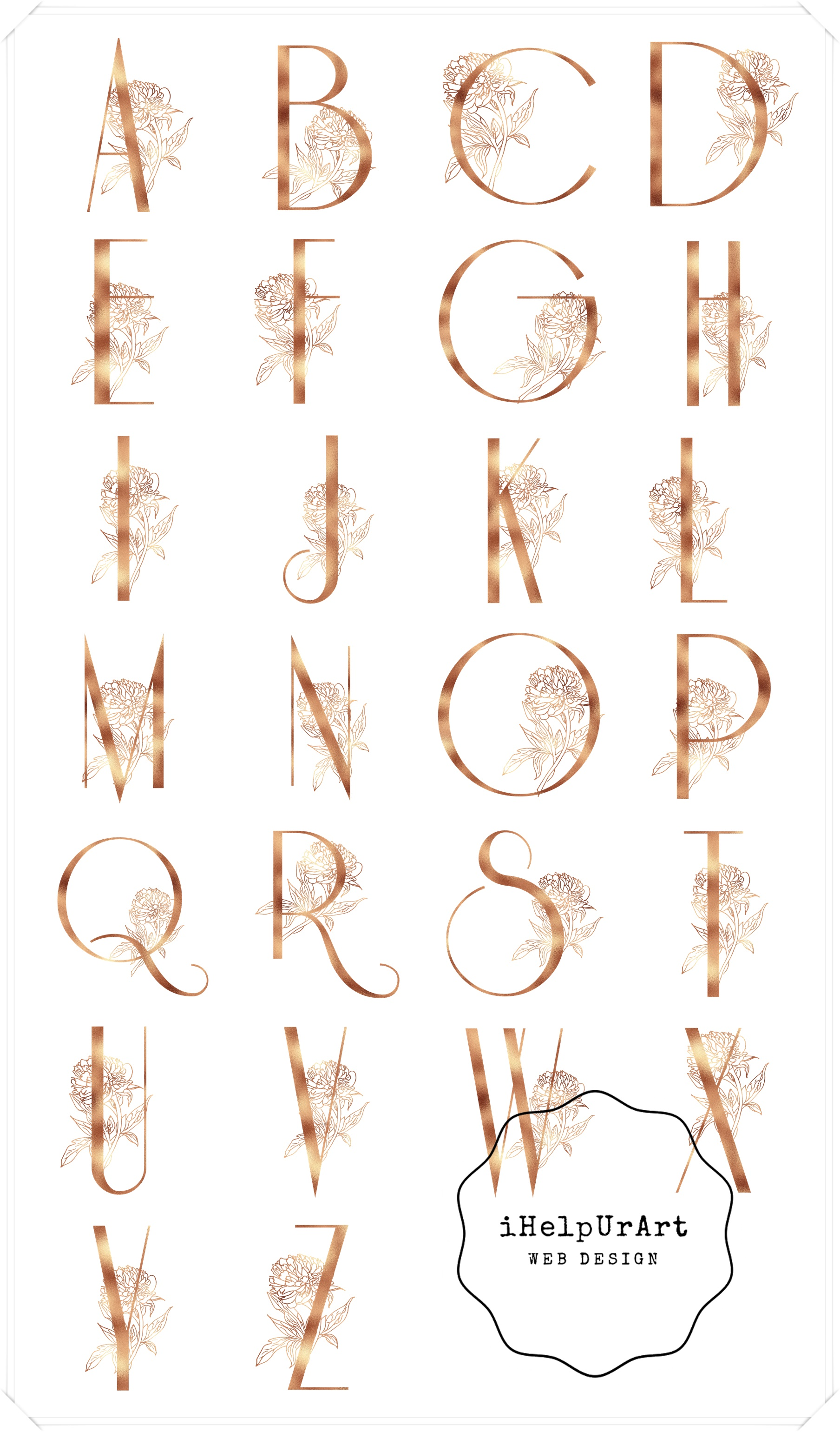 Copper Letters Clipart - Botanical Alphabet example image 3