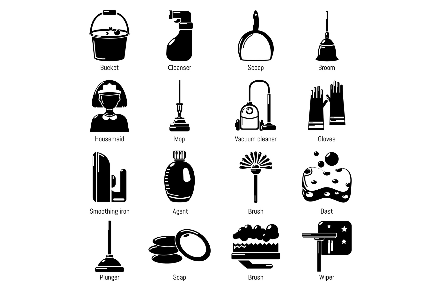 Cleaning tools icons set, simple style example image 1