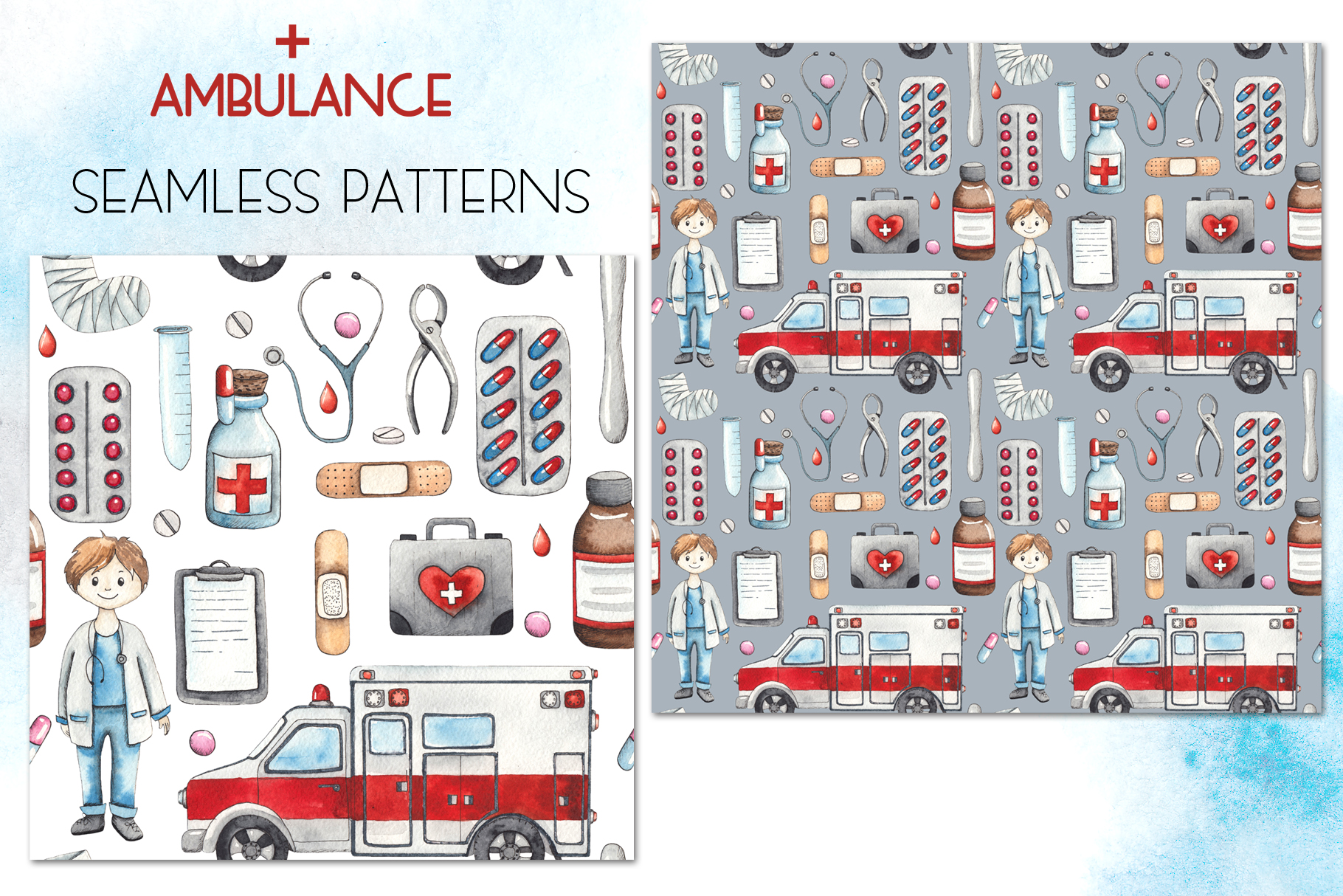 Ambulance. Watercolor collection example image 13