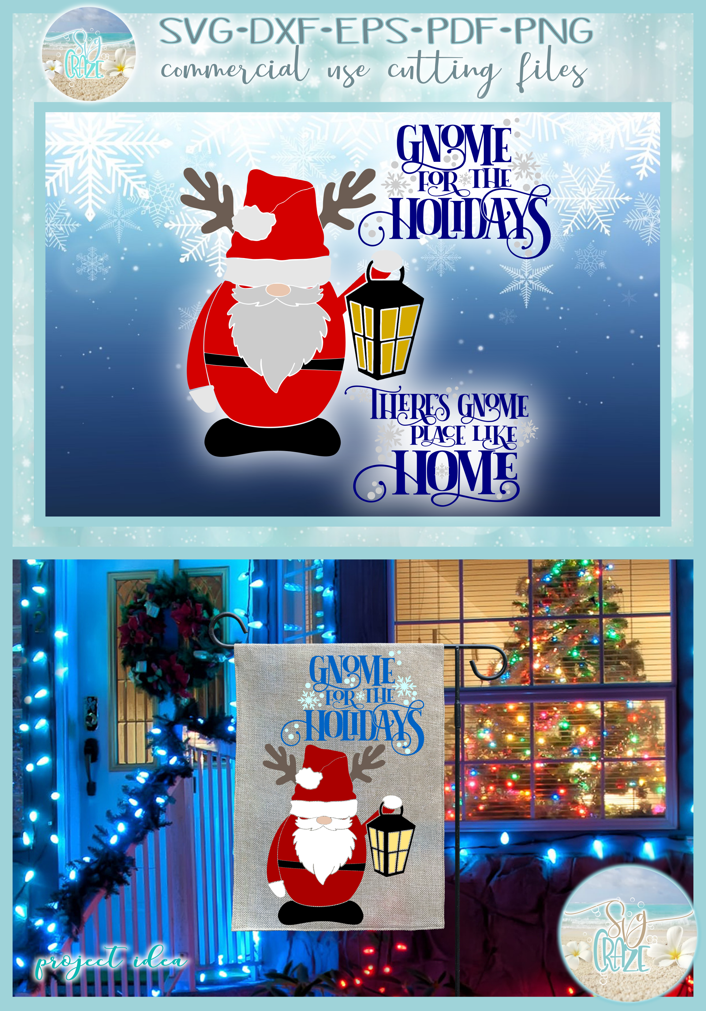 Theres No Place Like Home For The Holidays Quote Santa Gnome example image 4