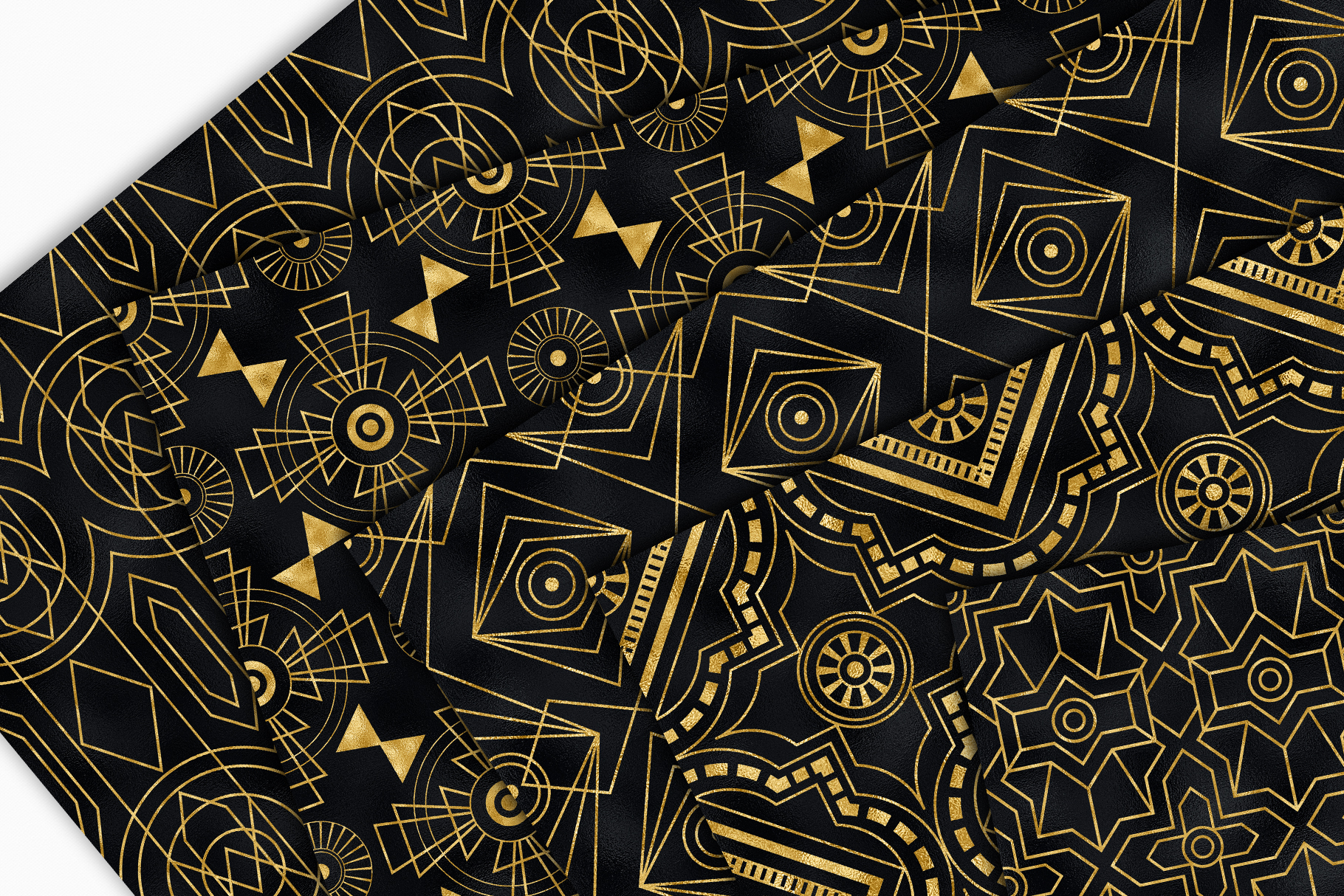 Seamless Art Deco Patterns - Black and Gold Digital Papers example image 12