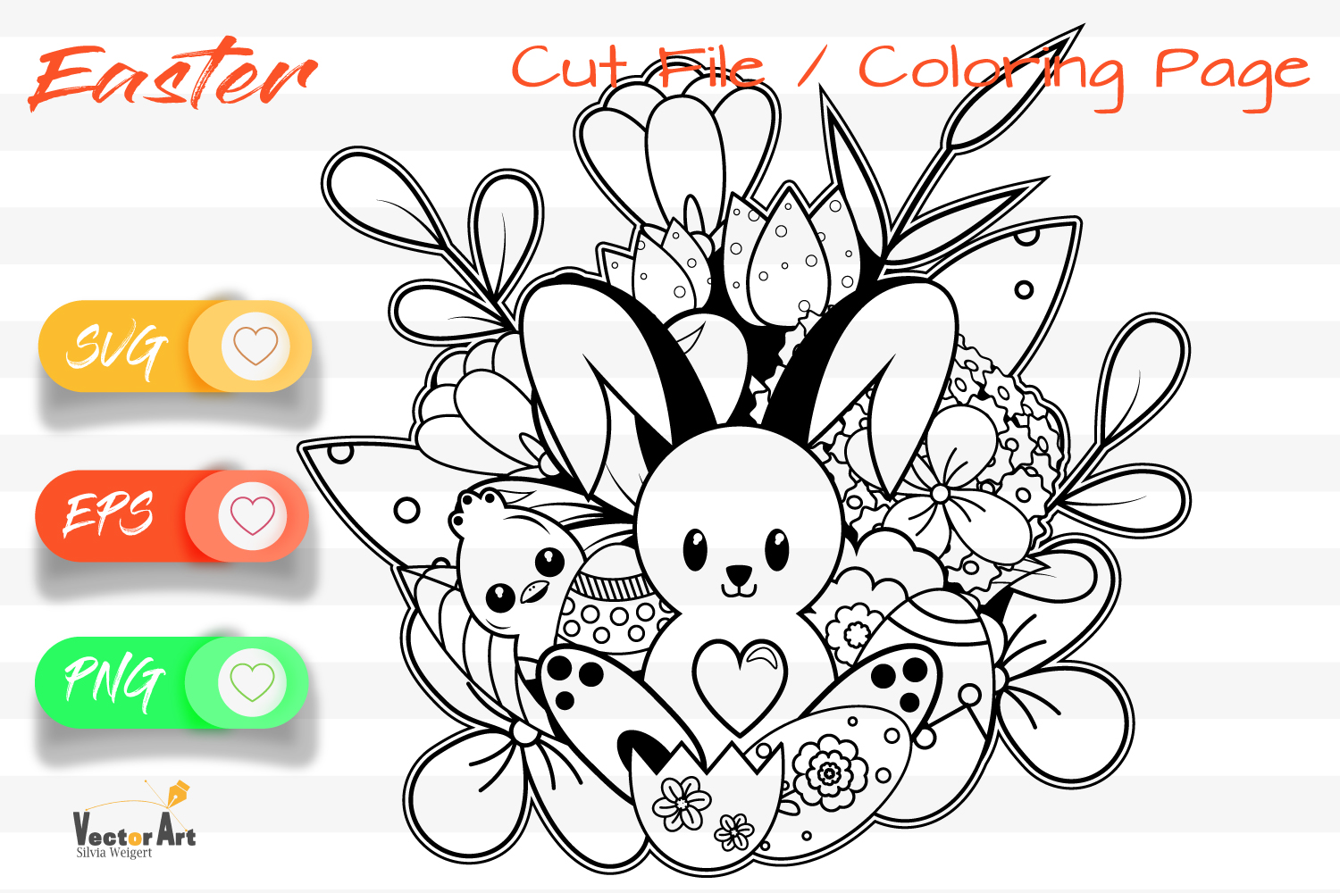 7x Easter and Spring - Mini Bundle - SVG and Coloring Page example image 4