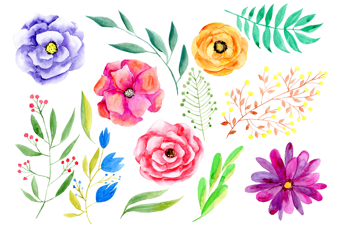 Watercolor flowers png clipart example image 2