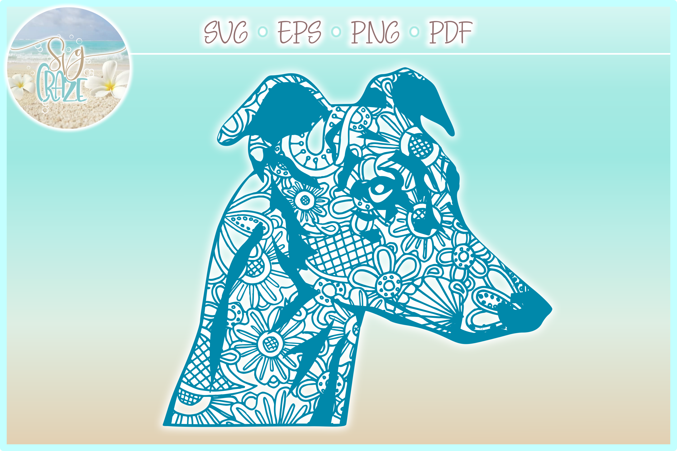 Greyhound Mandala Zentangle Bundle SVG Eps Png PDF example image 5