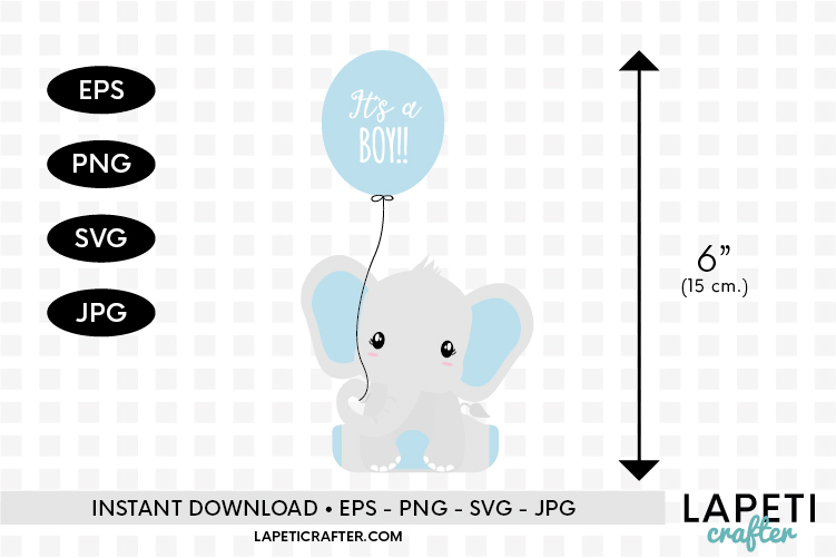 Baby Boy Elephant, gender reveal, baby shower clipart example image 3