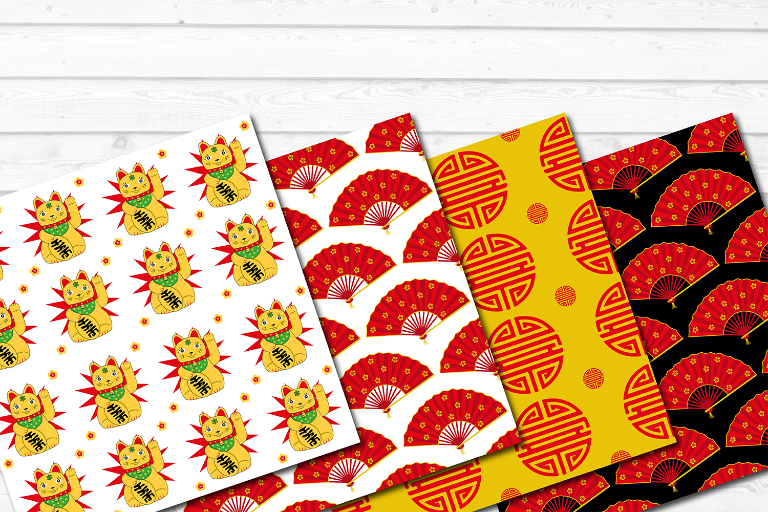 12 Chinese Asian Seamless Repeat Pattern Digital Papers example image 2